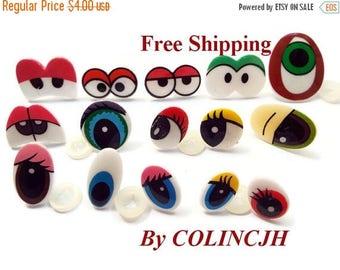 On Sale 15Pairs Toy Eyes Cartoon Safety Eyes Animal Craft Eyes Plastic Eyes With Plastic Washers Mix