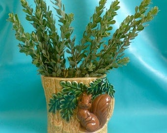 Vintage Squirre Planter Indoor Planter Vase Squirrel In Tree MId-Century
