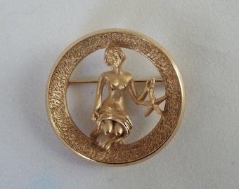 Vintage Trifari Brooch, Virgo Sign , Gorgeous!  Woman With Sea Star, Zodiac