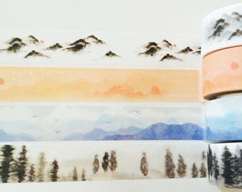 Watercolor Mountains Boxed Washi Tape in 4 Patterns