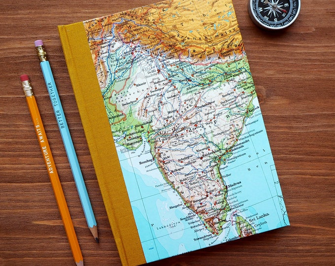 BOOK, India, Mumbai, Sri Lanka,  6x8,5 inch, 150 p., blank, handbound, travel journal, diary, notebook, atlas, map, vintage, upcycling, boho