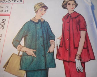 Vintage 1960's Simplicity 2243 MATERNITY Suit Dress Sewing Pattern SIze 14 Bust 34