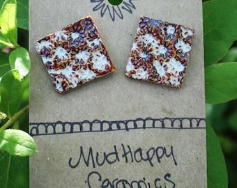 Square studs, ceramic flower imprint earrings