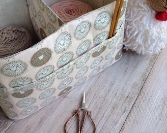 Large DIVIDED Basket for Baby's Room, Large Divided Basket for Knitting, Large Divided Basket with exterior pocket