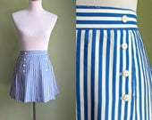 1970s/80s Hello Sailor Skirt - Pinstriped Pleated Mini - Nautical - Med/Large