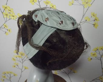 Vintage 1940s 50s Tilt Hat Brown with Dotted Veil and Aqua Rosette With Metal Leaves