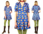 Vtg 60s Floral Puff Sleeve Mini Dress S