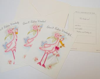 vintage baby announcement card: set of three, stork, safety pin, floral design, Hallmark card