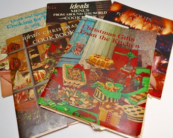vintage cookbook collection: set of five Ideals cookbooks featuring Christmas, soup, small meals, and international cuisine