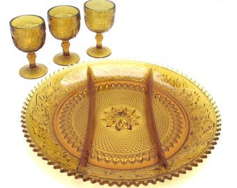 Amber Glass Serving Platter - Plate - Tray by Tiara Classic Vintage Home Decor