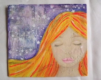 Professional Dreamer. Mixed media on mountboard.