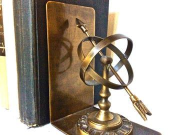 Bronze Armillary Bookends Old World Armillary Sundial Globe Bookends, Executive Library