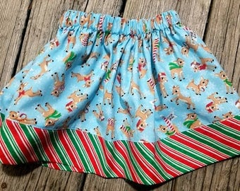 Girls Skirt / Reindeer / Red Nose / Christmas Outfit / Holiday