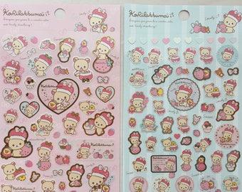"""Kawaii Bear Stickers - Korilakkuma & Strawberry - """"Minna Ichigo ni Naare"""" theme - Pink/Blue"""