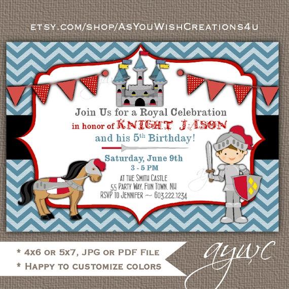 Knight Birthday Invitation Knight Party Knight Invitations – Knight Birthday Invitations