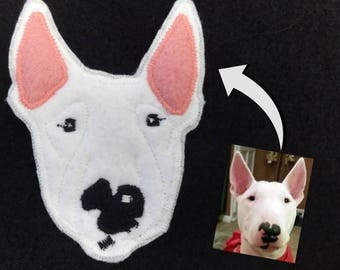 Dog Portrait Custom Patch. Personalized Dog Gift. Textile Art. Bull Terrier