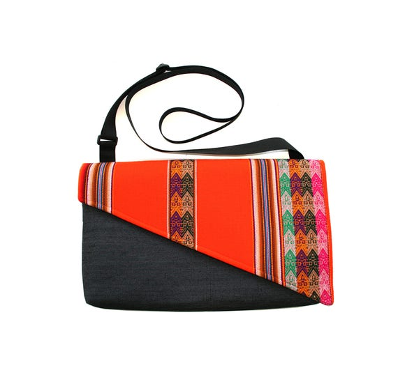 SALE! Orange, Peruvian textile, Messenger bag, cross body bag