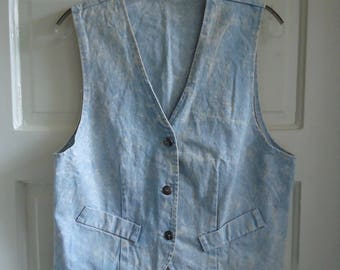 Vintage 80s Light ACID WASH Denim Vest sz M