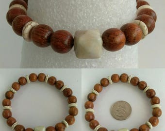 Father's Day Men's Women's Unisex Brown Wood and Tan Ceramic Elastic Stretch Bracelet Jewelry