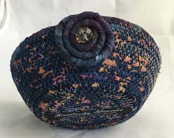 Small Coiled Rope Basket - Handmade Blue Batik