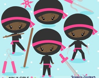 INSTANT DOWNLOAD - Dark Skin Tone Girls Ninja Clipart and Vectors for personal and commercial use
