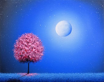 Art Print of Landscape Painting, Pink Tree Art, Whimsical Tree Print,  LIMITED Edition Print, Giclee Print of Moon on Blue Night Dreamscape