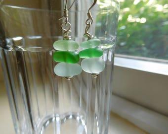 Genuine sa glass earrings.  Beach glass jewelry.  Green, UV, and seafoam.