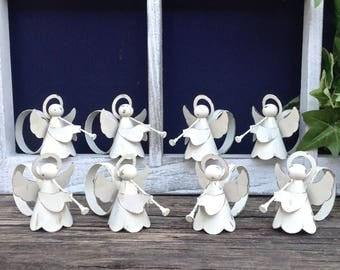 Shabby Chic Angel Napkin Rings / Set of 8 / White Angel  Dining Table Decor / Christmas Accent / Christmas Decor