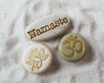 3 for 10 zen beads, handmade om beads, soul mantra awareness beads, unique hand painted namaste and lotus flower symbol bead,