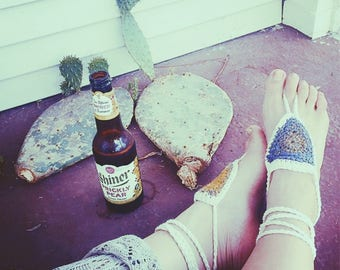 Batik Gypsy Feet Bohemian Barefoot Sandals. Hand Crocheted Cotton Soleless Sandals. Vegan Friendly. More Colors!