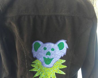 Upcycled Grateful Dead Dancing Bear Patch Corduroy Zip Up Jacket Youth XL