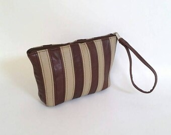 ON SALE Strip Design Leather Clutch with Wrist Strap, Wristlet Bag, Trendy Urban Pouch, Cosmetic Purse Cosmos