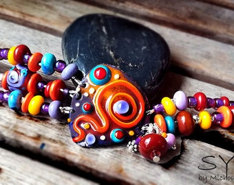 Sahara - Boho Unique Lightweight Bracelet including lampwork beads - Enameled Copper Art by Michou P. Anderson