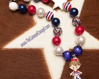 Red White and Blue American Girl Bubblegum Necklace, Patriotic Necklace, Chunky Necklace, USA Necklace, Photo Prop, Toddler Necklace, July 4