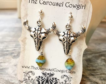 Southwest Cow Skull Earrings, Cow Skull Jewelry, Southwest Jewelry, Southwest Earrings, Southwestern, Cow Skull Earrings, Desert Earrings