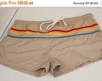 On Sale 50% OFF Vintage Manhattan Men's Swim Suit Swim Trunks Rainbow Colors Stripes Poly/Cotton SZ L