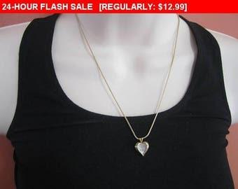 Vintage Avon rhinestone heart pendant necklace, hippie, boho