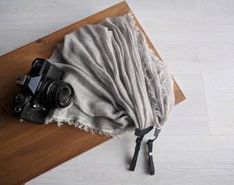 Scarf camera strap Gray camera strap Moonlight camera strap Camera scarf DSRL camera strap Photographer accessories Camera accessories