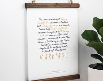 Shakespeare Print - Literary Quote - Shakespeare Marriage Quote - Wedding Gift - Literary Gift - Wedding Present - Paper 1st Anniversary