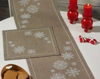 Scandinavian Table Runner Cross Stitch Kit White Snowflake