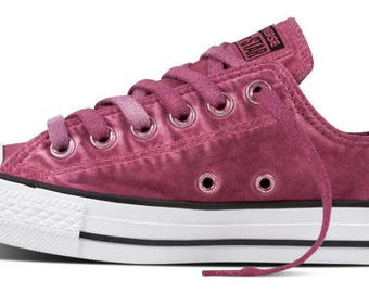 Converse Pink Magenta Low Top Wash Monochromatic Custom Kick w/ Swarovski Crystal Bling Rhinestone Chuck Taylor All Star Ladies Sneaker Shoe