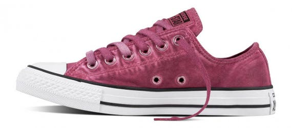 Converse Pink Magenta Low Top Wash Monochromatic Custom Kick w/ Swarovski Crystal Bling Rhinestone Chuck Taylor All Star Ladies Sneaker Shoe