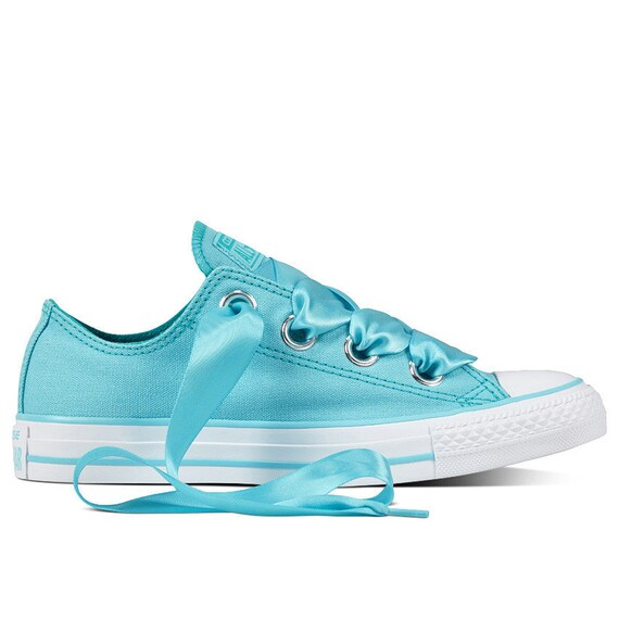 Aqua Blue Converse Low Top Wedding Robin Teal Turquoise Bride Satin Ribbon Chuck Taylor w/ Swarovski Crystal All Star Bling Sneakers Shoes