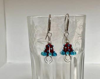 Brown and Blue Handmade Lampwork glass and Sterling Silver Earrings - OOAK