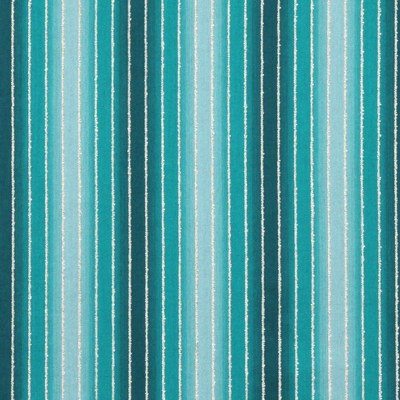 The Texture Of Teal And Turquoise: Turquoise Ombre Stripe Upholstery Fabric Aqua Blue Teal