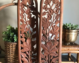 Vintage Wooden Hand Carved Floral Wall Hangings India