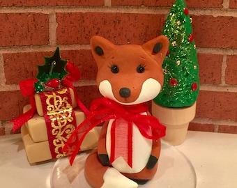 Polymer clay fox cake topper,birthday, woodland cakes,woodland animals