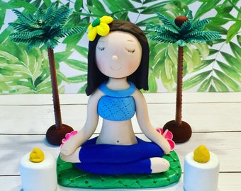 Custom yoga cake topper,polymer clay cake toppers,Birthday cake,Yoga studio,meditation,cake decor,party decor,centerpiece,handmade,fimo