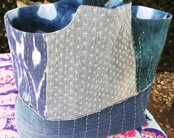 Sashiko stitched market bag with reclaimed demin