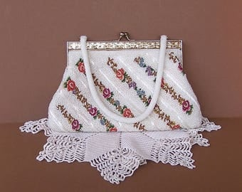 Vintage Purse . Evening Bag . beaded and floral petit point .